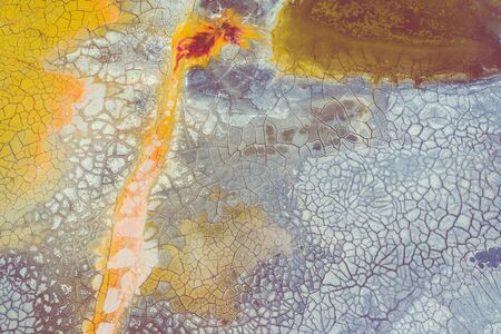Aerial view of surrealistic industrial place. Dry surface. Desertic landscape. Human impact on the environment. View from above. Abstract industrial background. Banque d'images