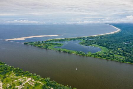 Aerial view of the Vistula river mouth to the Baltic sea. Poland. Photo made by drone from above. Bird eye view. Banco de Imagens