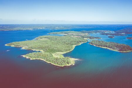 Aerial view of Aland Islands at summer time. Finland. The Archipelago. Photo made by drone from above. Nordic Natural Landscape.