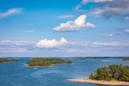 Picturesque landscape with island. at Baltic Sea. Aland Islands, Finland. Europe.