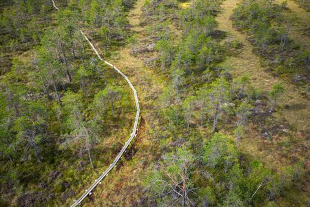 Aerial view of Kurjenrahka National Park. Turku. Finland. Nordic natural landscape. Scandinavian national park. Photo made by drone from above.