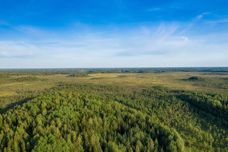 Aerial view of Kurjenrahka National Park. Turku. Finland. Nordic natural landscape. Scandinavian national park. Photo made by drone from above. Zdjęcie Seryjne