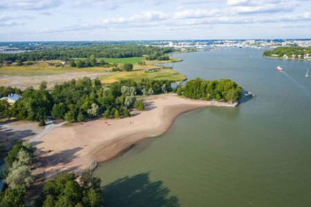 Aerial view of Ruissalo island. Turku. Finland. Nordic natural landscape. Photo made by drone from above.