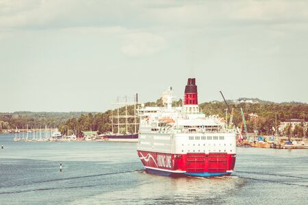 MARIEHAMN, ALAND ISLANDS - AUGUST 06, 2019: Cruiseferry MS Amorella comes to port of Aland Islands. It operated by the Finnish ferry company Viking Line. Route Turku, Mariehamn, Stockholm in Gulf of Bothnia. Redakční