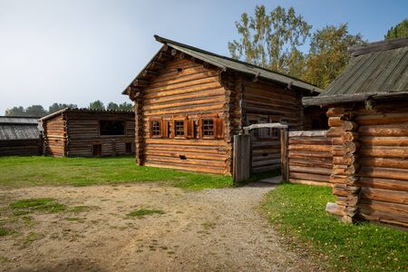 Traditional Siberian wooden house in the Taltsy Architectural-Ethnographic Museum. Stok Fotoğraf