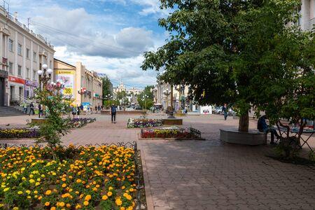 ULAN UDE, RUSSIA - SEPTEMBER 06, 2019: Ulitsa Lenina is a pedestrian arbat street in the center of Ulan-Ude city, Republic of Buryatia, Russia.