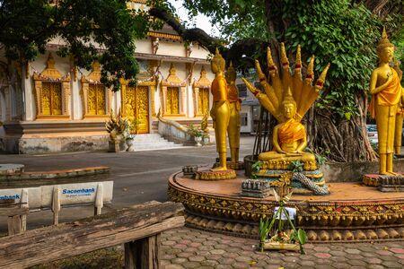 Buddha statue at buddist temple Vat Haysoke in Vientiane. Laos. Asia.