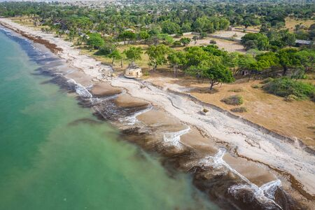 Aerial view of Atlantic coast near Palmarin. Saloum Delta National Park, Joal Fadiout, Senegal. Africa. Photo made by drone from above.