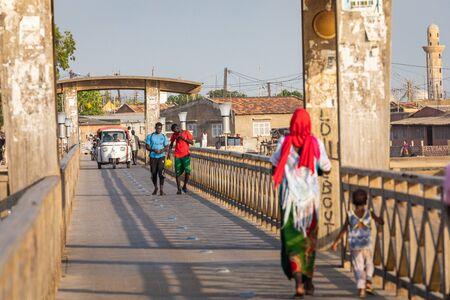 JOAL-FADIOUTH, SENEGAL - NOVEMBER15, 2019: Bridge over historic Fadiauth Island. Senegal. West Africa.