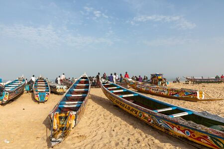 Traditional painted wooden fishing boat in Kayar, Senegal. West Africa.