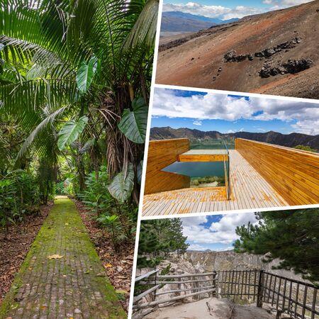 Collage of popular tourist destinations in Ecuador. Travel background. South America.
