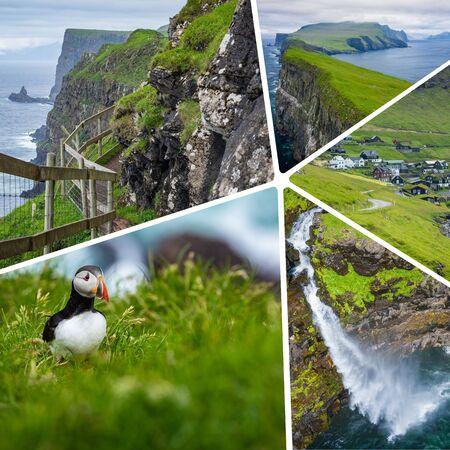Collage of popular tourist destinations in Faroes Islands.  Travel background. Faroe Islands. Denmark. Europe.