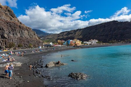 Tazacorte beach with black lava sand at La Palma, Canary Island, Spain.
