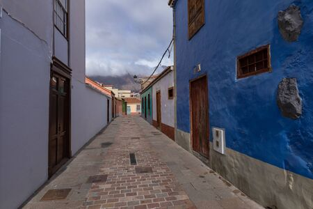 Beautiful colorful streets of old colonial town in Los Llanos de Aridane in La Palma Island, Canary Islands, Spain.