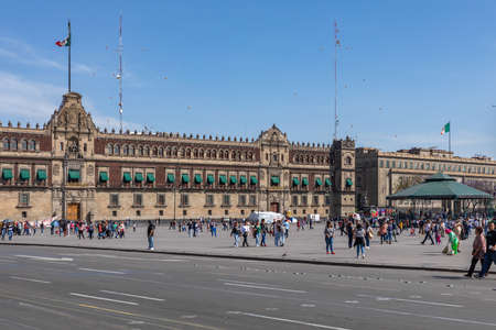 El Zocalo in Mexico City with the National Palace.