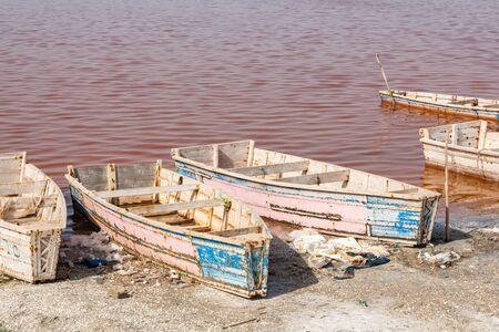 Boats at Lac Rose or Retba Lake. Dakar. Senegal. West Africa.