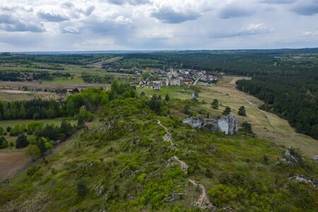 Aerial view of Mirow Castle, Eagles Nests trail. Medieval fortress in the Jura region near Czestochowa. Silesian Voivodeship. Poland.