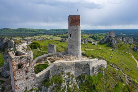 Aerial view of Castle Hill in Olsztyn. Medieval fortress ruins in the Jura region near Czestochowa. Poland. Central Europe. Stock Photo