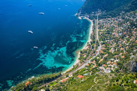 Aerial view of French Riviera coast near of Nice, Cote d'Azur, France, Europe.