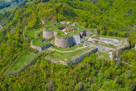 Srebrna Gora fortress with beautiful panorama of Sudety mountains aerial view. Poland.