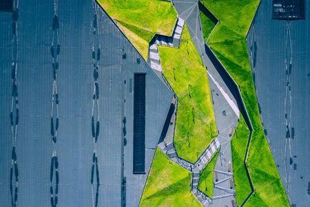Katowice city center architecture. Aerial view of green grass terraces. Upper Silesia, Poland. Zdjęcie Seryjne