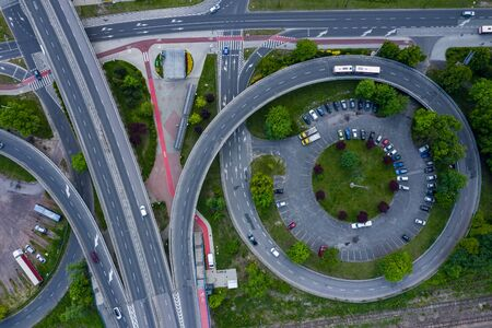 Aerial view of roads intersections. Sosnowiec, Poland.