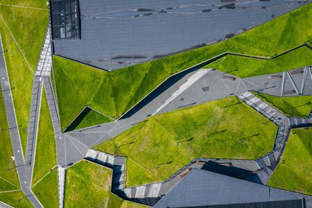 Katowice city center architecture. Aerial view of green grass terraces. Upper Silesia, Poland. Imagens