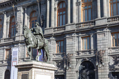 National Museum of Art and Statue of Charles IV (El Caballito de Tolsá in Mexico City) in Mexico City historic centre in Mexico.