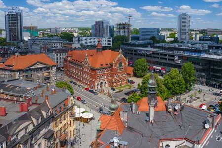 KATOWICE, POLAND - JUNE 01, 2020: Aerial view of city center of Katowice, Upper Silesia. Poland. Publikacyjne