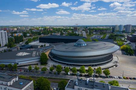 "KATOWICE, POLAND - JUNE 01, 2020: Aerial photo of ""Spodek"" arena complex and modern city center of Katowice, Upper Silesia. Poland. Publikacyjne"