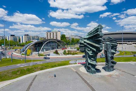 KATOWICE, POLAND - JUNE 01, 2020: Aerial photo of Silesian Insurgents Monument in Katowice, Upper Silesia. Poland.
