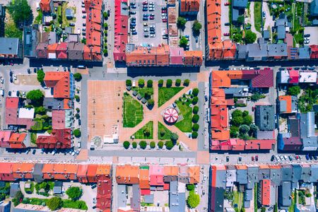Aerial view of central square in Zory. Upper Silesia. Poland.