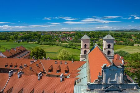Tyniec Abbey in Kracow. Aerial view of benedictine abbey. Cracow, Poland.