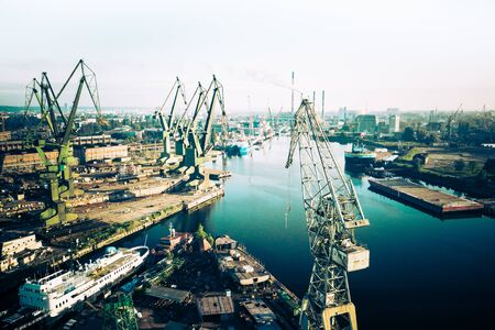 Gdansk Harbor Aerial View. Cranes at the famous shipyard of Gdansk, Pomerania, Poland.