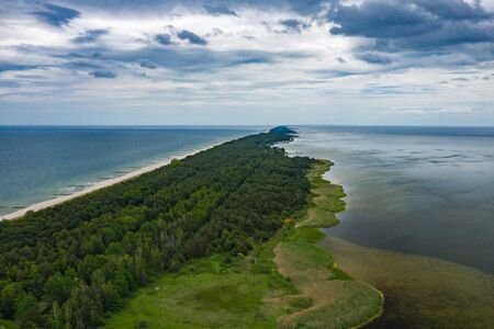 Chalupy Beach Aerial View. Hel Penisula from Above. Baltic Sea, Pomerania, Poland. Stock fotó