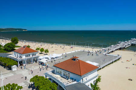 Sopot Beach Aerial View. Sopot resort in Poland from above. Sopot is major tourist destination in Poland. 新聞圖片