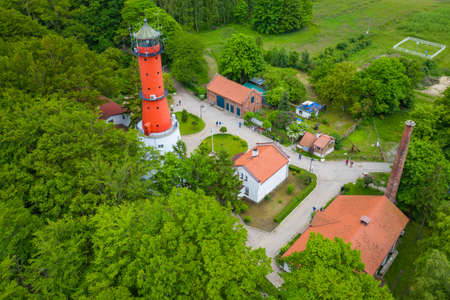 Aerial view of lighthouse in the small village of Rozewie on the Polish seashore of the Baltic Sea. Poland. Europe. 新聞圖片
