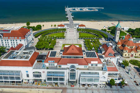 Sopot Aerial View. Beautiful architecture of Sopot resort from above. Wooden pier (molo) and Gulf of Gdansk. Sopot is major tourist destination in Poland.