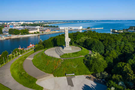 GDANSK, POLAND - JUNE 17, 2020: Aerial view of Westerplatte Monument in memory of the Polish defenders. The Battle of Westerplatte was one of the first battles in Germany's invasion of Poland, World War II.