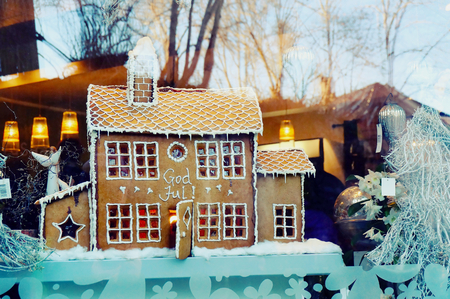 Gingerbread house decorated with white icing in the flower shop gingerbread house decorated with white icing in the flower shop around christmas decorations mightylinksfo