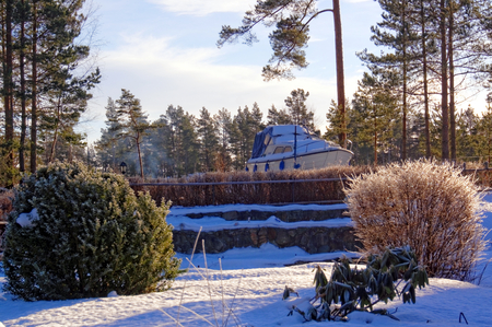 Plants in the winter garden. In the garden, buried under snow. Motorboat in the garden. Winter scenery. Kragero, Telemark municipality. Region of southeastern Norway. Skagerrak coast.
