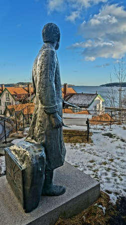 munch: Edvard Munchs Monument looking towards the fjord Kragerofjorden. Monument in Kragero, the place where he lived and painted in 1909 - 1915.  Editorial