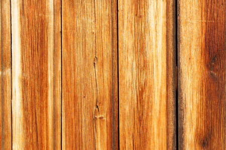 visible: Brown old flat wooden boards. Visible cracks and grain tree. Stock Photo
