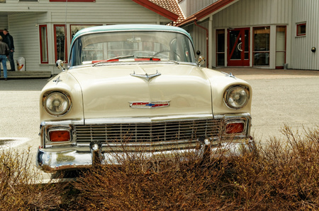 cream colored: Grimstad, Norway - 1 May 2015: Cream colored Chevrolet at American cars show AmCar monstring.