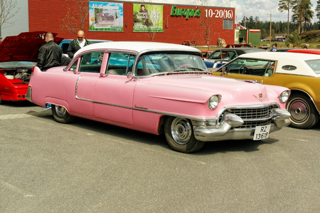 Grimstad, Norway - 1 May 2015: Chevrolet in pink at American cars show AmCar monstring. Editorial