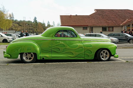 dodge: Grimstad, Norway - 1 May 2015: Green colored Dodge at American cars show AmCar monstring. Editorial