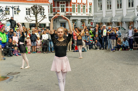 frienship: Kragero, Norway - May 2, 2015: Public celebration of International Dance Day 2015. In Norway celebrate dance over several days and have therefore given the name Dance Day.