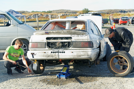 drifting: Froya Airport, Norway, 12 september 2015: Norwegian drifting car racing.  Motor sports competitions and demonstration of fast cars in Norway . Exhibition of cars with modifications for drifting. Island in the Atlantic Ocean and Norwegian fjord.