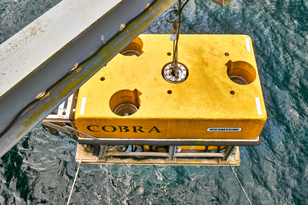 subsea: Stavanger, Norway - July 26, 2015:  Cobra robot yellow subsea equipment in Norwegian Petroleum Museum. Fjord - Boknafjord, county Rogaland region Vestlandet. Editorial