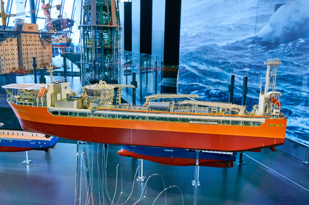 subsea: Stavanger, Norway - July 26, 2015:  Balder FPU model of the most famous ship in the oil history subsea equipment in Norwegian Petroleum Museum. Fjord - Boknafjord, county Rogaland region Vestlandet. Editorial